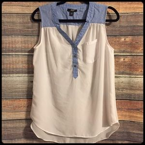 Nordstrom AGB white blue sheer tank top
